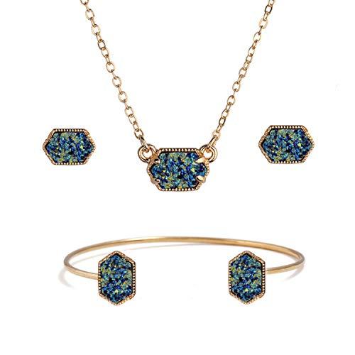 ISAACSONG.DESIGN Gold Tone Colorful Faux Healing Statement Druzy Stone Necklace, Bangle Bracelet, Dangle Drop Earring Jewelry Set for Women (Blue Bangle Set)