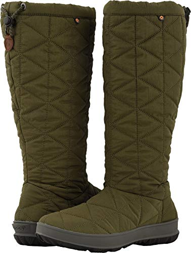 Bogs Womens Snowday Tall Snow Boot, Dark Green, Size 6