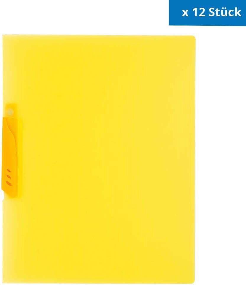 D.RECT 4420 Klemmmappen Schnellhefter mit Clip A4 Gelb 12 St/ück