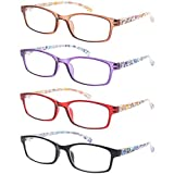 READING GLASSES 4 Pairs Stylish Quality Spring Hinge Readers Fashion Men and Women