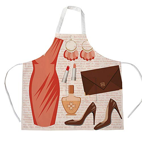 (Cotton Linen Apron,Two Side Pocket,Heels and Dresses,Accessories Fashion Cocktail Dress Lipstick Earrings High Heels Decorative,Salmon Brown Peach,for Cooking Baking Gardening )