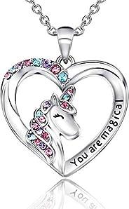 Lanqueen Unicorn Necklace/Hypoallergenic Earrings for Little Girls Lovely Gifts for Daughter Granddaughter Gir