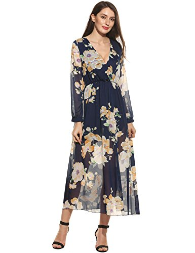 Zeagoo Chiffon V Neck Sleeve Floral product image