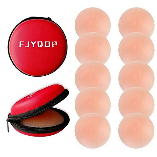 Silicone Nipple Covers - 5Pairs,Women's Reusable Nippleless Pasties Breast Round Invisible