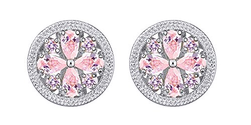 Flower Shape Simulated Pink Tourmaline Trendy 14k White Gold Over Sterling Silver Stud Earrings
