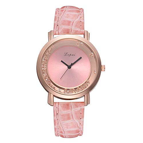 - ManxiVoo Women Watch, Ladies Casual Dial Analog Quartz Watches Faux Leather Band Bracelet Watch (Pink)
