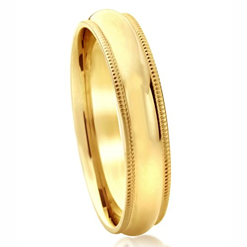(14K Yellow Gold Wedding Band 5mm Milgrain Edges Domed Classy Comfort Fit Ring -Size:)