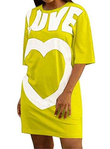 Domple Femmes Col Rond Imprimé Amour De La Mode À Manches Courtes T-shirt Robe Jaune