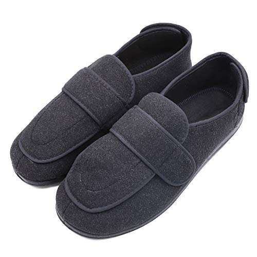 Men's Extra Extra Wide Width Adjustable Slippers for Edema, Diabetic and Extra Large Swollen Feet Black Size 11 US