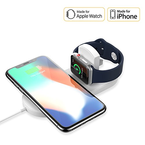 Apple Watch Charger – EXCITINGPOWER Ultra Slim Wireless Charger, Super Compact Wireless Charger for iPhone x & Apple Watch Series 2/3, Samsung Galaxy S8/S9 plus, 2 in 1 Qi Wireless Charger Pad by EXCITINGPOWER