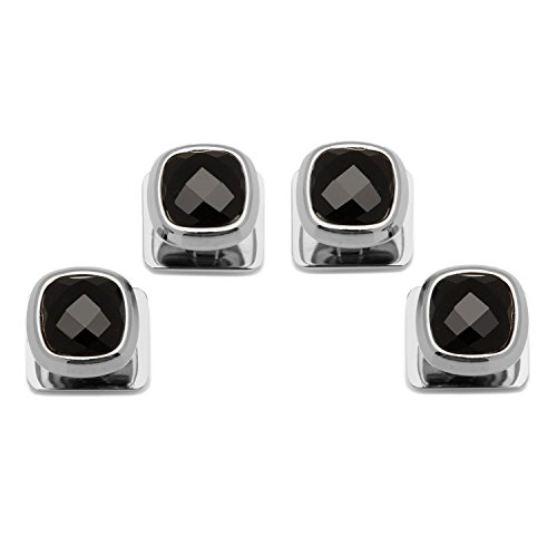 Ox and Bull Trading Co. Faceted Onyx Cushion Studs by Ox and Bull