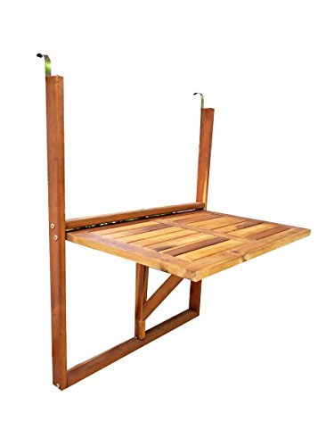 MCombo Folding Deck Table Tray Wood Porch BBQ Railing Hanging Serving Table Stand Patio Balcony Outdoor Entertaining 6098-0001 by MCombo