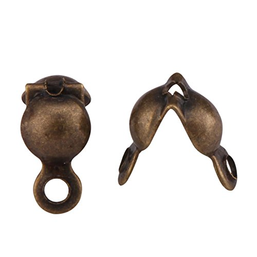 200pcs Top Quality Clamshell Calotte Endcaps Knot Cover 8mm Antique Bronze Plated Brass Bead Tips (4mm Cup) for Jewelry Craft Making CF49