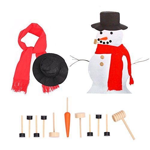 Bidlsbs Snowman Decorating Kit 13 Pieces Snowman Making Building Set Kids Winter Holiday Outdoor Fun Toys Christmas Gift