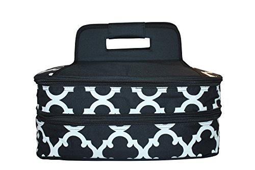 Insulated Casserole Carrier - Expandable, Double Capacity Tote Holds 11 x 15 Hot and Cold Dishes (Black and White Moroccan) Microfiber Two Pocket Tote