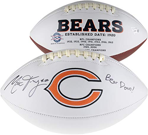 (Mitchell Trubisky Chicago Bears Autographed White Panel Football with Bear Down Inscription - Fanatics Authentic Certified)
