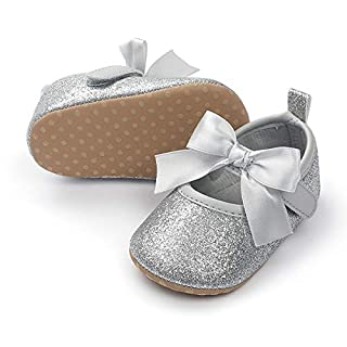 E-FAK Baby Girls Shoes Mary Jane Flats Shoes with Socks Anti-Slip Soft Rubber Sole Toddler First Walkers Princess Dress Shoes(0-6 Infant, 01 Silver)