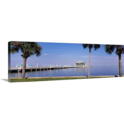 GREATBIGCANVAS Gallery-Wrapped Canvas Entitled Florida, St. Petersburg, Pier Stretching into The Ocean by 60