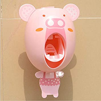Cartoon Automatic Toothpaste Dispenser Device Wall MountWall Mount Lazy Easy Toothpaste Squeeze Home Decor Pink, One Size