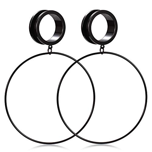 GAGABODY Large Hoop Ear Tunnels Surgical Steel Ear Plugs Expander Dangle Gauges Stretcher Earring Earlobe Piercing Screwing Back Black 9/16