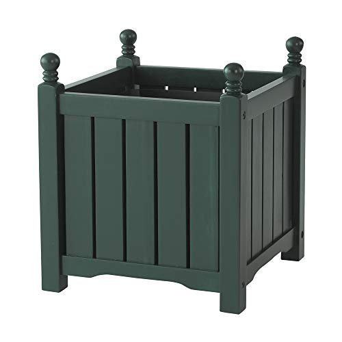DMC Products 70303 14-Inch Lexington Square Solid Wood Planter, Hunter Green Dmc Products Wood Planter