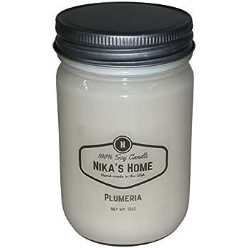 Nika's Home Plumeria Soy Candle - 12oz Mason Jar