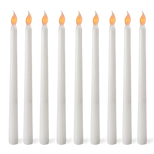 GOSTONG 12 PCS Flameless Christmas LED Taper Candles AAA Battery Operated Realistic Flickering Warm Yellow LED Candle for Christmas Festival Candelabra Sconces Chandelier Thanksgiving Church Decor