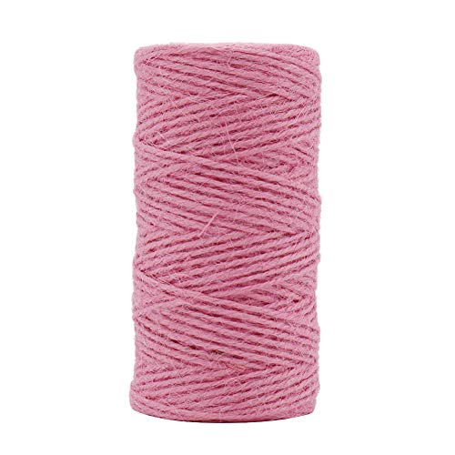 Tenn Well Jute Twine String, 335 Feet 2mm Jute Rope Gift Twine Packing String for Craft Projects, Wrapping, Gardening Applications (Pink)