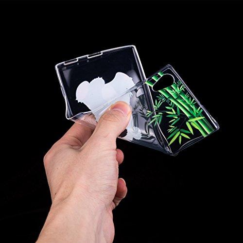 Funda Sony Xperia XA1 Ultra Pequeño Panda Suave Transparente TPU Silicona Anti-rasguños Protector Trasero Carcasa Para Sony Xperia XA1 Ultra (6,0 Pulgadas) con Un Protector de Cristal Templado Film Panda
