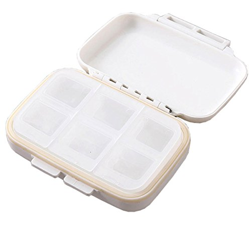 Oululu Pill Organizers Box 2 Times A Day with 6 Compartments Detachable Pill Cases for Travel Daily Medicine Needed (White)