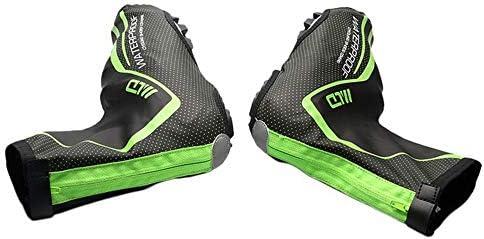 Cubre zapatillas impermeables de ciclo Invierno PU Fluffy Impermeable Cerradura Cubierta del zapato Tela cálida Bicicleta de montaña Montar Impermeable Cubierta del zapato Cubiertas de zapatos calient: Amazon.es: Hogar