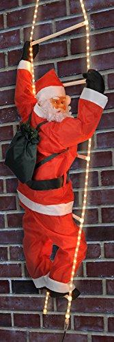 Weihnachtsmann auf Leiter - beleuchtete Leiter mit 4m Lichtschlauch