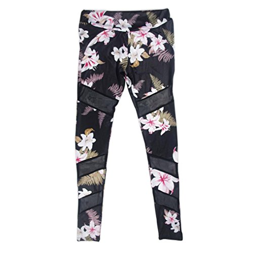 Ruhiku GW Womens Floral Print High Waist Sports Mesh Trousers Fitness Workout Gym Yoga Pants Leggings