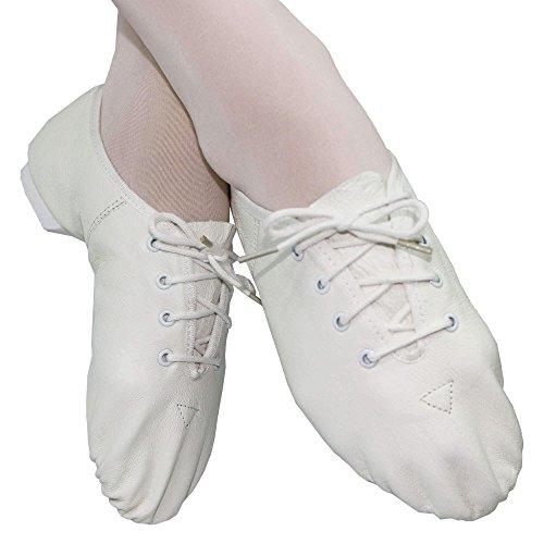 Danzcue Damen Leder Schnürschuhe Jazz Schuhe Weiß