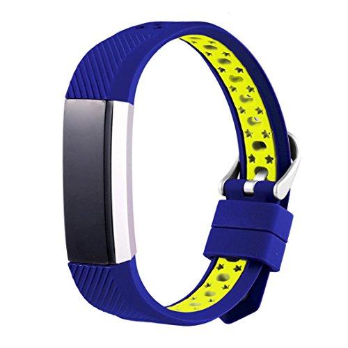 Alonea New Fashion Sports Silicone Bracelet Strap Band For Fitbit Alta HR (Blue)