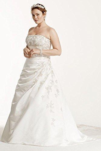 Satin A-line Plus Size Wedding Dress with Lace Up Back Style 9V9665 – 14 Plus, Ivory