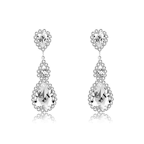 lated Ruby Rhinestone Crystal Cubic Zirconia Birthstone Earrings Wedding Bridal Drop Dangle Earrings Jewelry Hypoallergenic (White) (Birthstone Dangle)