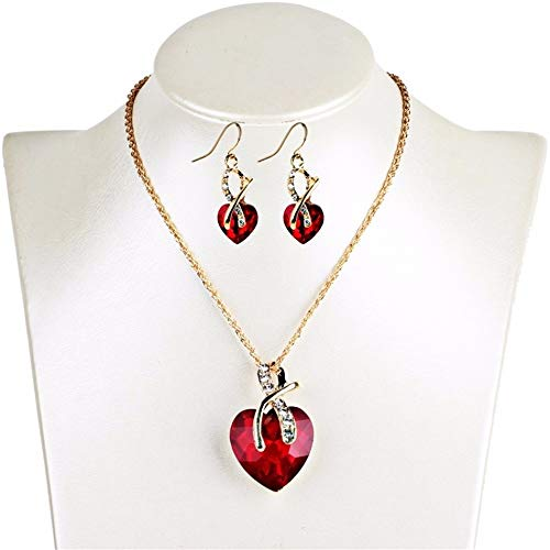- V-Moni European And American Wedding Dinner High-End Luxury Heart-Shaped Austrian Crystal Zircon Earrings Necklace Jewelry Set Female Red