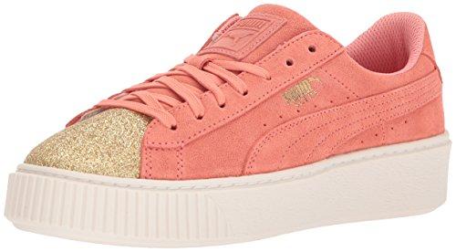 PUMA Kids' Suede Platform Glam Sneaker, Team Gold-Shell Pink, 1 M US Little - Kids Platform