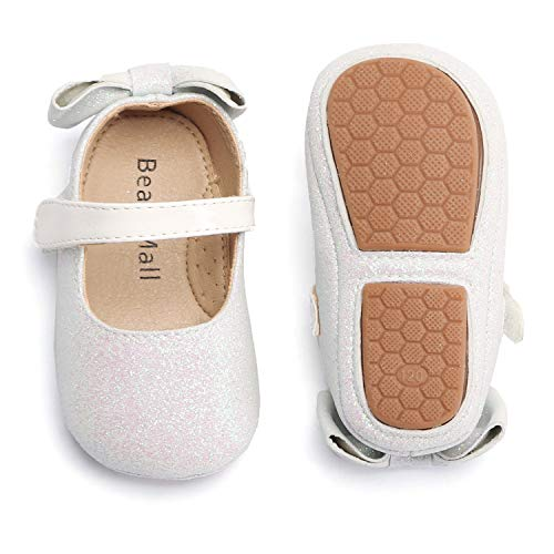 Bear Mall Infant Baby Girl Shoes Soft Sole Toddler Ballet Flats Baby Walking Shoes (9-12 Months-4 3/4 Inch, Giltter White)