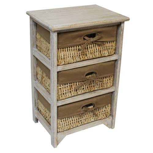 JVL 2-Drawer Wood Unit with Lined Maize Drawers, Flamed, 38 x 27.5 x 42 cm 17-041