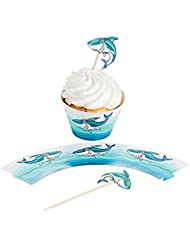 Paper Jawsome Shark Cupcake Wrappers with Picks (100 PC)