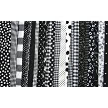 FAT Quarter ~ Set of 4 100 % Cotton ~ Black & White ~ Quilt Fabric ~ Crafts ~ Sewing