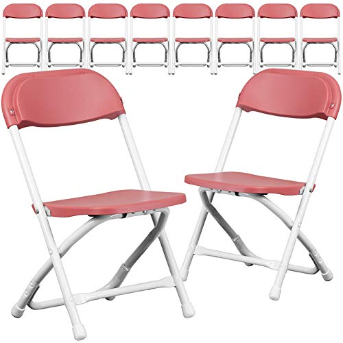 Emma + Oliver 10 Pack Plastic Folding Chair (Multi Pack of 10 Folding Chairs) (Burgundy)
