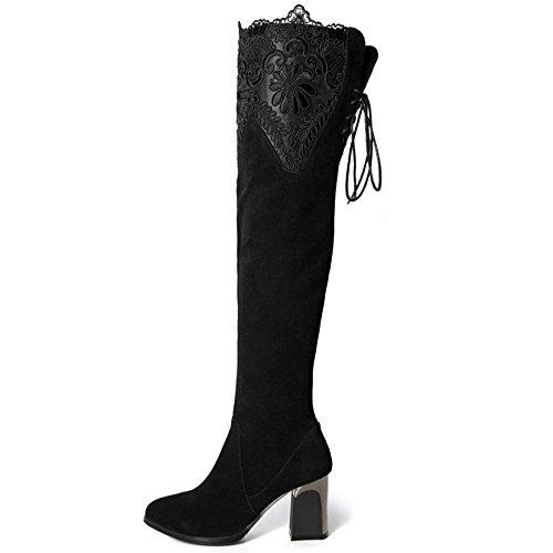 Heels High Party Lace Thigh Fashion Dress Taoffen Boots Block Women Black OwIqTxgR
