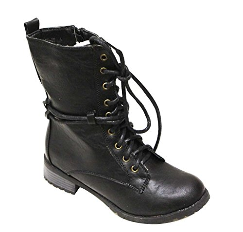 Reneeze Alice-2F Women's Round Toe lace up Side Zipper Faux Fur Lining mid-Calf Military Style Combat Boots Black 5