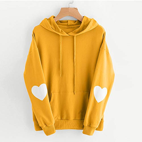 Long Sale Dress Heart Women's Hoodie Hooded VECDY Street Casual Simple Wild Shirts Sleeved Sweatshirt Hoodie Yellow Pullover Clearance q0Cxxw5v8