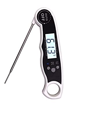 Instant Read Meat Thermometer, Digital Cooking Thermometer with Long Probe & Back light, Fast Accurate Waterproof Kitchen Thermometer for Food, BBQ Grill, Water, Milk, Baking