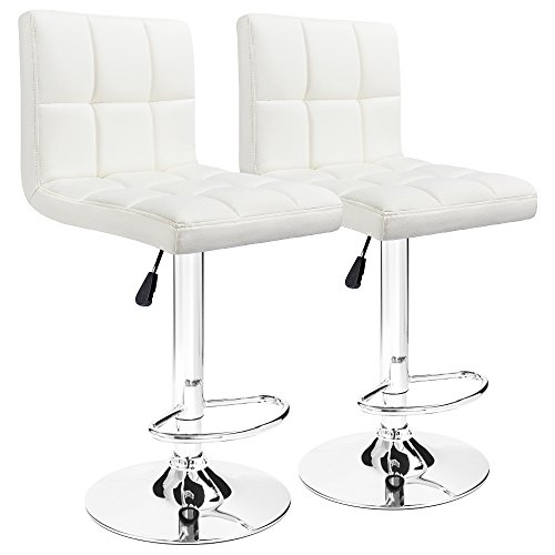 (Furmax Bar Stools White Modern Pu Leather Swivel Adjustable Hydraulic Bar Stool Square Counter Height Stool Set of 2(White))