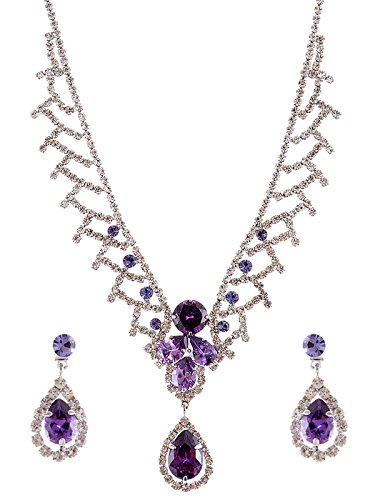 Alilang Swarovski Crystal Elements Bridal Amethyst Teardrop Collar Necklace Earring ()